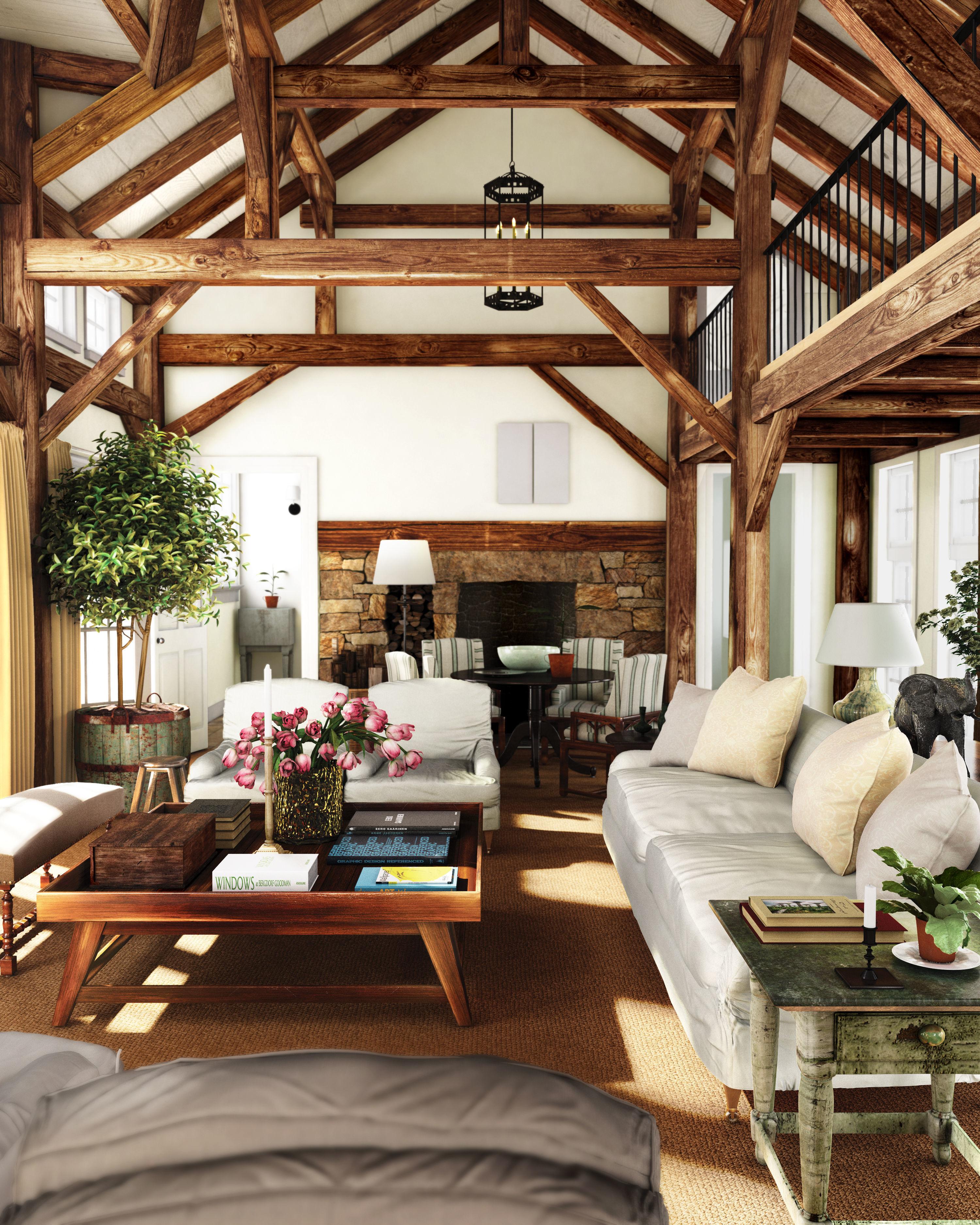 Big Cozy Living Room: Cozy Rustic Countryside Living Room Big Wood House 3D 1