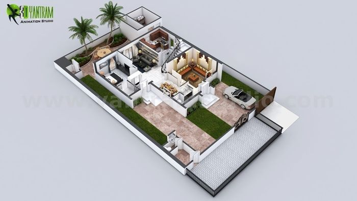 3D Floor Plan Of 3 Story House With Cut Section View By Yantram Floor Plan