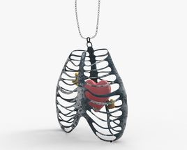 Rib Cage Necklace With Heart