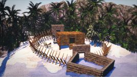 EXOTIC ISLAND AND WOODEN HOUSE