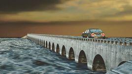 Car on bridge 3d art design