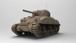 M4 Sherman highpoly tank.
