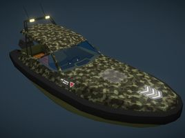 3D Cartoon, LowPoly Motorboat for mobile - games