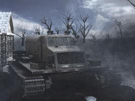 Military truck. Environment