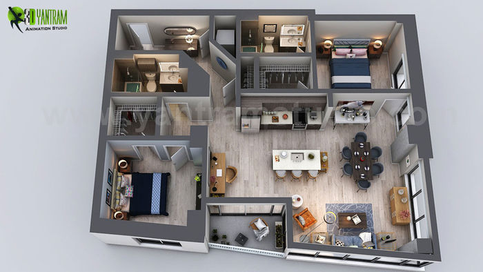 Interior design san diego Robeson Unique Residential Apartment 3d Floor Plan Rendering Ideas By Yantram Interior Design For Home San Diego Usa Unique Residential Apartment 3d Floor Plan Rendering Ideas By