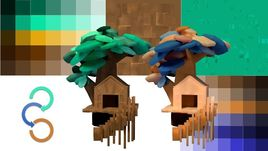 customizable low poly house and tree SET Low-poly 3D model