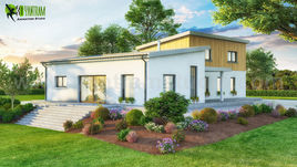 3D Exterior Small Pod House of Rendering Design Visualisation by Yantram Architectural and Design Services, London - UK