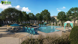 Architectural Pool View Rendering Developed By Yantram Architectural Design Studio, Chicago-USA