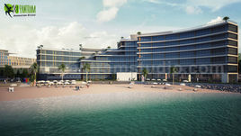 Modern 3D Exterior Beach Side Design by Yantram Architectural Rendering Companies, Dubai - UAE