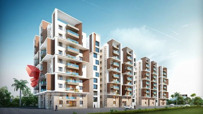 3D Exterior Rendering of Apartment
