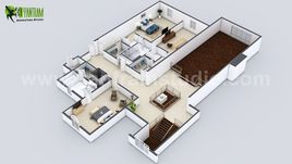 Beautiful Modern 3D Home Virtual Floor Plan Developed by Yantram Architectural Design Studio, Bern - UK