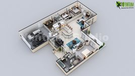 3D Virtual Floor Plan Design of Luxurious Villa Design by Yantram Architectural Design Studio, New York - USA