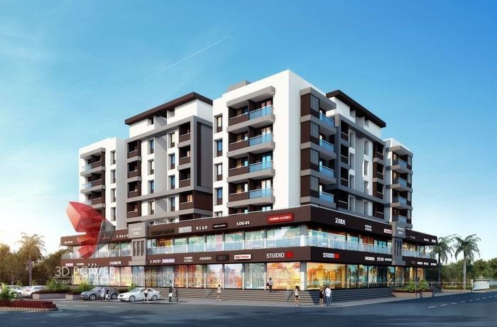 3D Rendering Of Commercial Apartment with Interiors