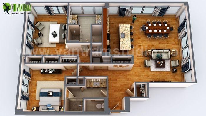 3D Floor Plan Rendering Apartment Design Ideas by Yantram 3D Architectural design studio, Dubai – UAE