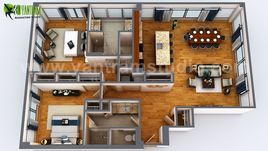 3D Floor Plan Rendering Apartment Design Ideas by Yantram 3D Architectural design studio, Dubai – UAE