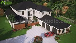 Modern Exterior Rendering Services (top view) with brown metal roof House by Yantram Architectural Rendering Companies, Washington - USA