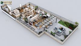 Modern Penthouse floor plan designer by Yantram Architectural Modeling Firm, Dublin – Ireland