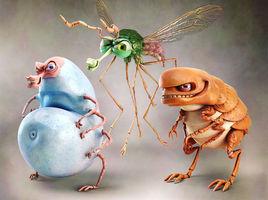 Bayer characters tick mosquitoes flea