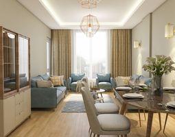 3D Modern Living Room render