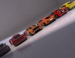 Low Poly Car Set 3D model realtime