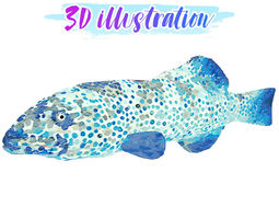 3D model Low Poly Coral Grouper Fish illustration 3