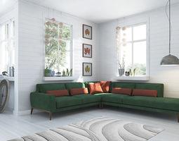furniture Emerald Corner Sofa 3D Model