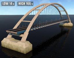 Suspended Arch Water Road Bridge 3D