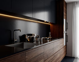 3d modern kitchen for cinema 4d and corona renderer