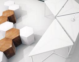3D asset Modular table shelf chair UE4
