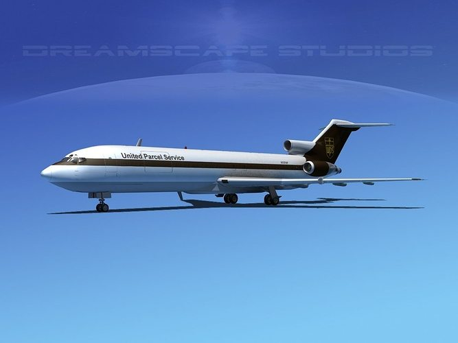 boeing 727-200 ups 1 3d model max obj mtl 3ds lwo lw lws dxf 3dm 1