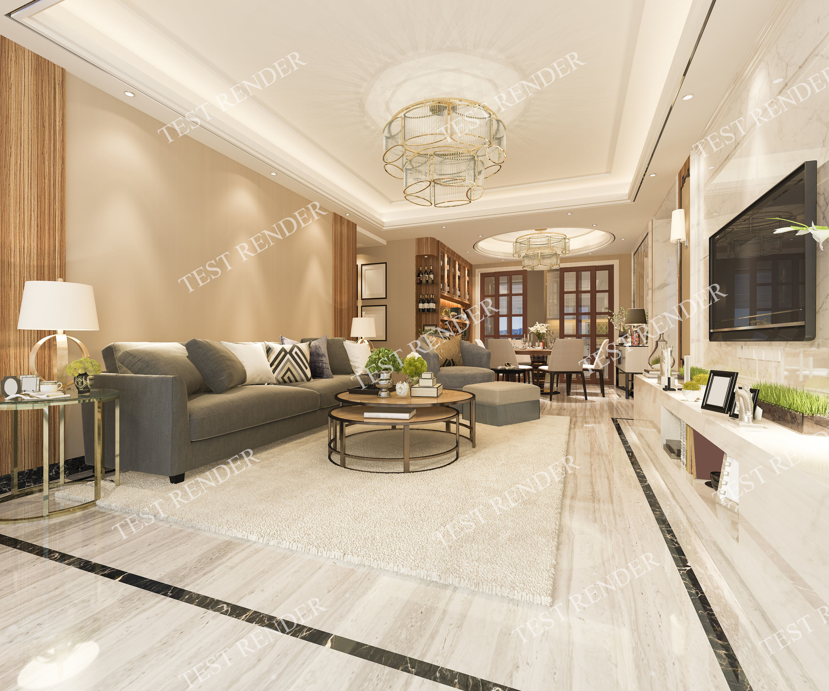 Wondrous Luxury Modern Living Room And Dining Room With Tv 3D Model Interior Design Ideas Tzicisoteloinfo