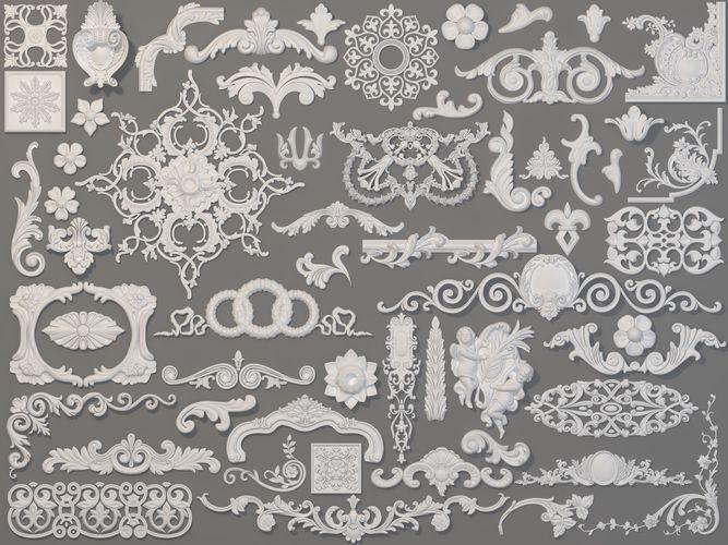 carved elements collection -3 - 58 pieces 3d model max obj mtl fbx stl 1
