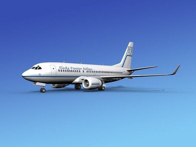 boeing 737 700er alaska frontier 3d model rigged max obj 3ds lwo lw lws dxf stl
