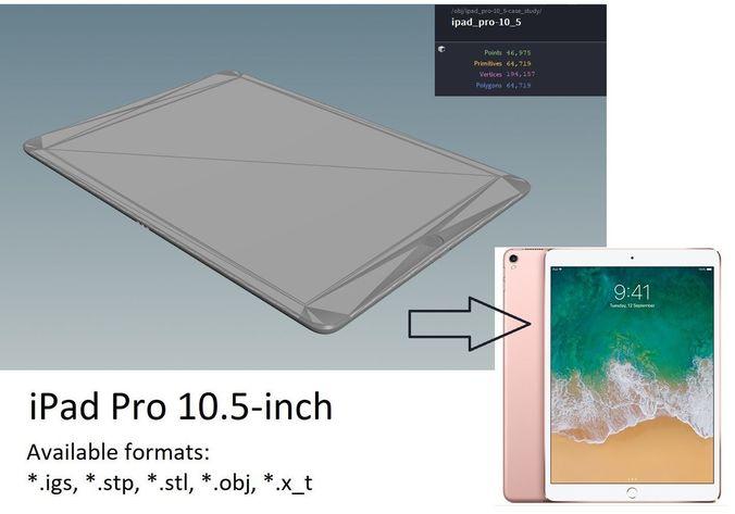 ipad pro 10-5 inch - original dimensions 3d model obj mtl stl ige igs iges stp 1
