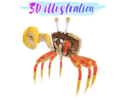 Low Poly Crab Illustration Animated - Game Ready 3D model