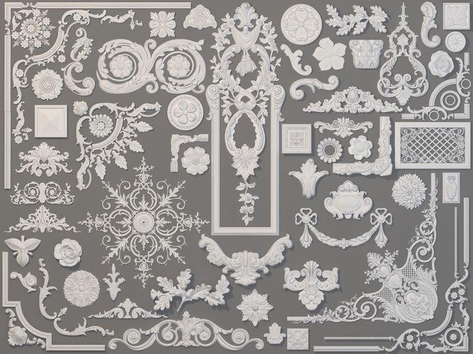 carved elements collection -4 - 58 pieces 3d model max obj mtl fbx stl 1