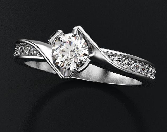 interesting stylish engagement ring with diamonds 432 3d model stl 3dm 1