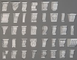 Corbels Collection -2 - 38 pieces 3D