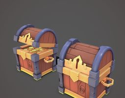 3D model Low poly treasure chest for mobile game