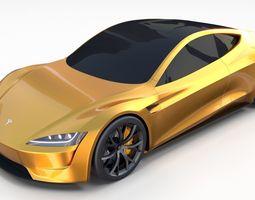 3D model Tesla Roadster Yellow