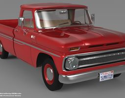 3D Chevrolet C10 1965 Series Pickup Model low-poly