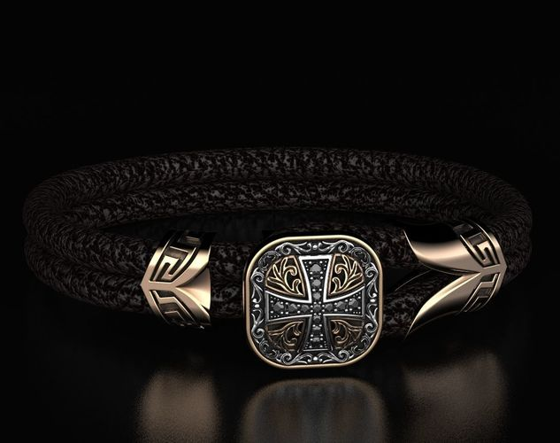 stylish bracelet with rubber with and cross 433 3d model stl 3dm 1