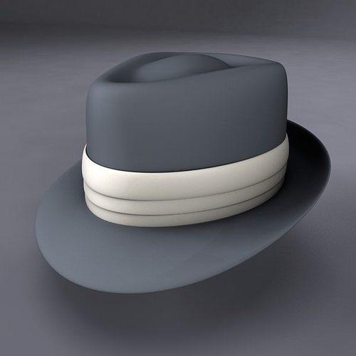 frank sinatra fedora hat 3d model obj mtl 3ds fbx c4d dxf stl 1 ... 8193e5ebd61