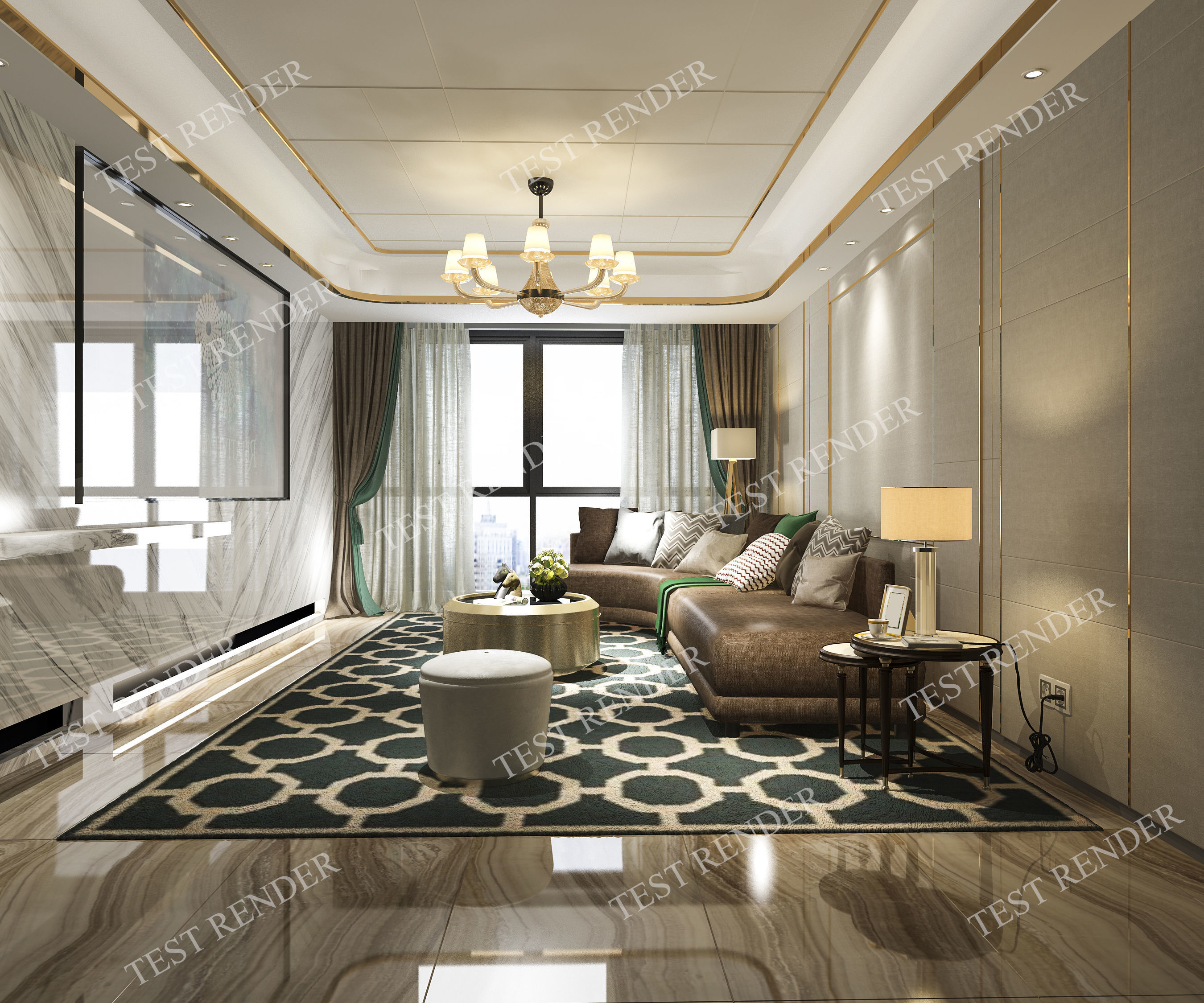 Modern Luxury Living Room.Classic Modern Luxury Living Room With Tv 3d Model