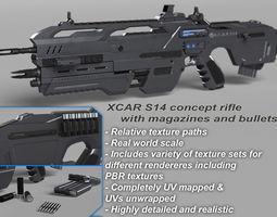 3D model Futuristic Assault Rifle XCAR S14