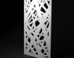 Low-poly CNC panel Lines hard lattice 3D asset