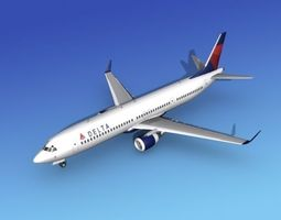 rigged boeing 737-900er delta 1 3d