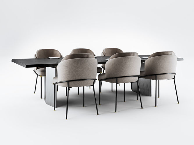 Minotti Fil Noir Dining Chairs And