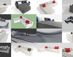 3 Corner Sofas with 4k PBR textures 3D