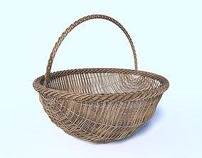 3D model Wicker Basket Round Bottom